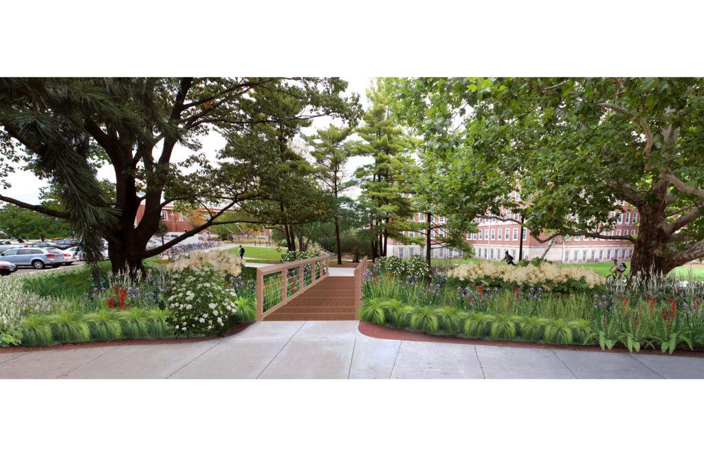 Rendering of garden with bridge